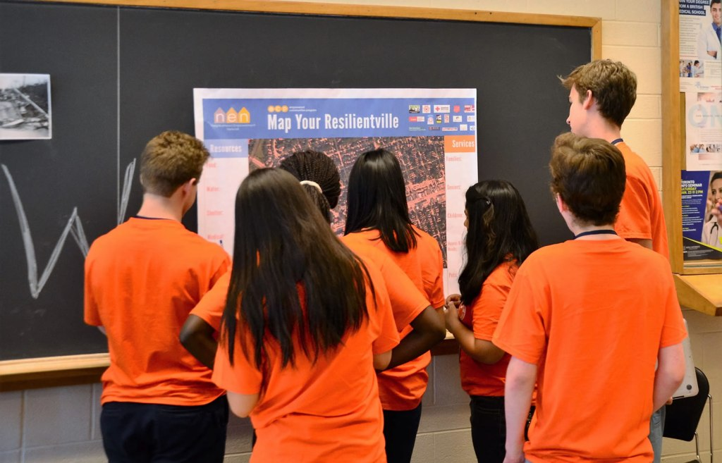 Students map resources in Resilientville