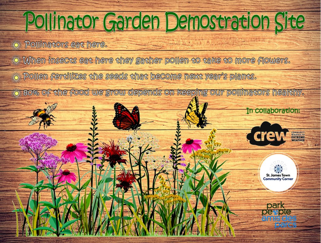 Sign from the St. James Town pollinator garden